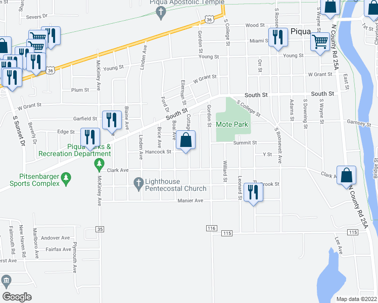 map of restaurants, bars, coffee shops, grocery stores, and more near Cottage Avenue in Piqua