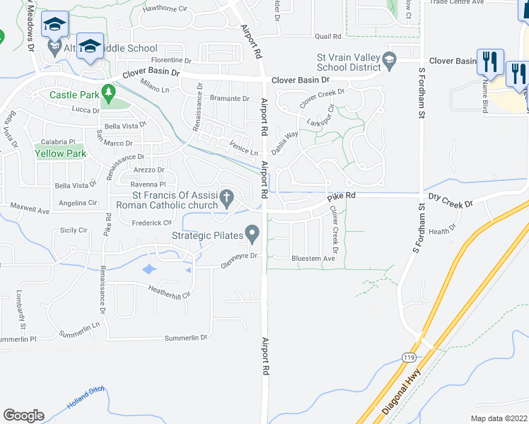 map of restaurants, bars, coffee shops, grocery stores, and more near 8903-8971 North 87th Street in Longmont