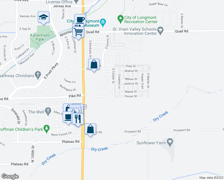 map of restaurants, bars, coffee shops, grocery stores, and more near 300 Challenger Place in Longmont