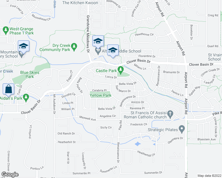 map of restaurants, bars, coffee shops, grocery stores, and more near 1604 Naples Lane in Longmont