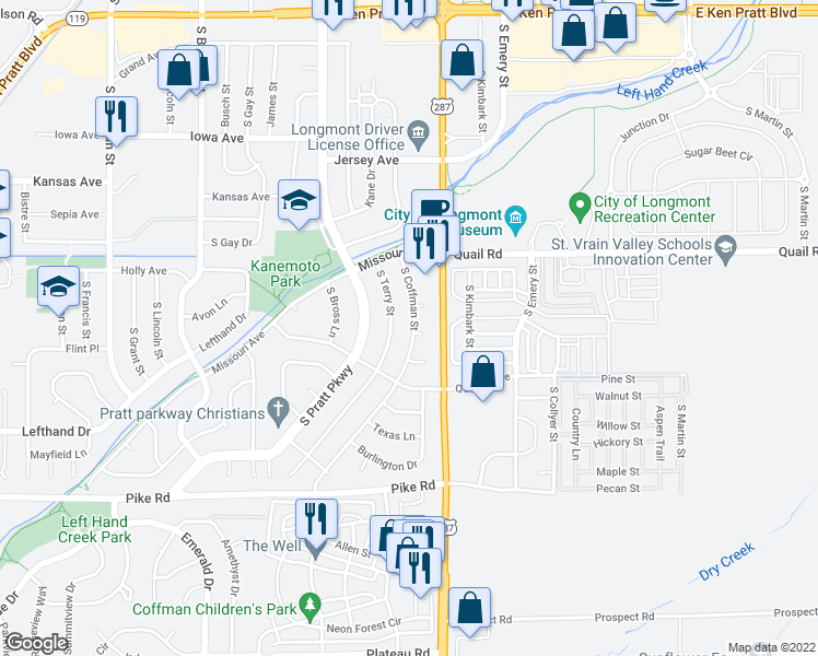 map of restaurants, bars, coffee shops, grocery stores, and more near 1323 South Coffman Street in Longmont