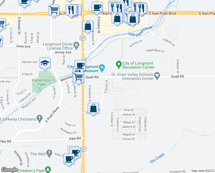 map of restaurants, bars, coffee shops, grocery stores, and more near 1234 South Emery Street in Longmont