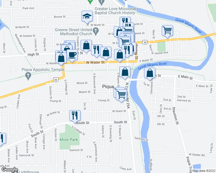 map of restaurants, bars, coffee shops, grocery stores, and more near 220 North Wayne Street in Piqua
