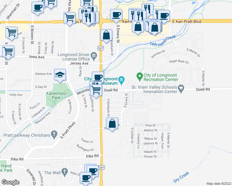 map of restaurants, bars, coffee shops, grocery stores, and more near 430 Flicker Avenue in Longmont