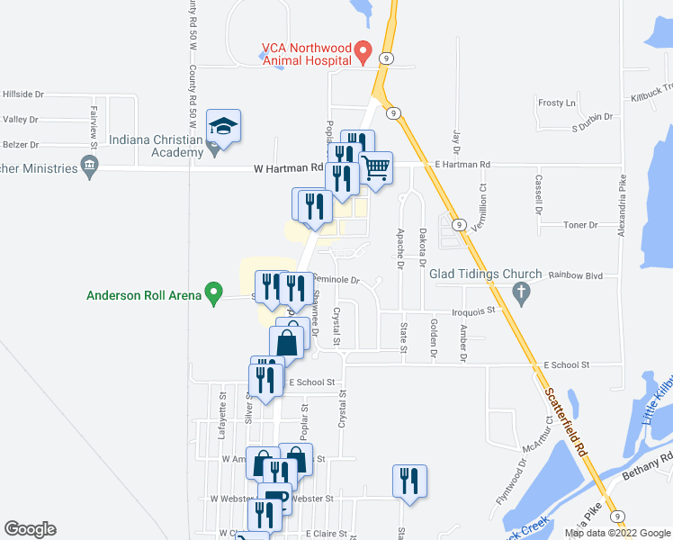 map of restaurants, bars, coffee shops, grocery stores, and more near 208 Seminole Drive in Anderson