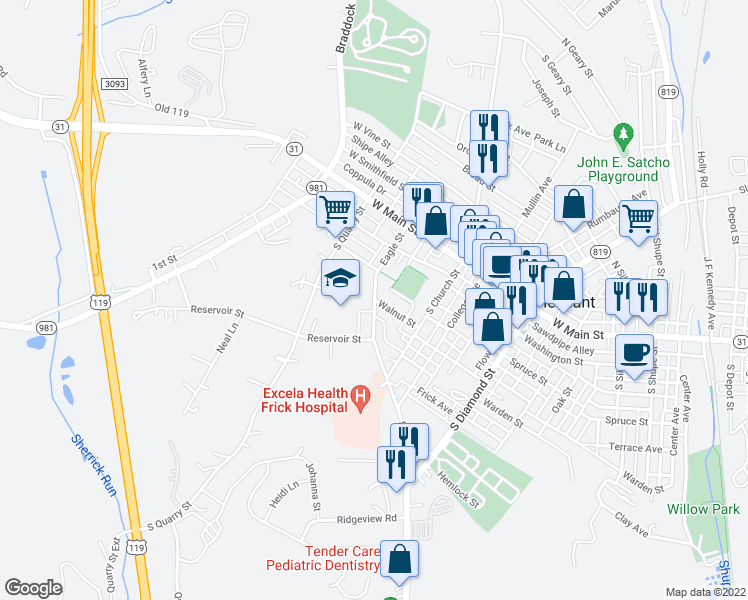map of restaurants, bars, coffee shops, grocery stores, and more near 310 Eagle Street in Mount Pleasant