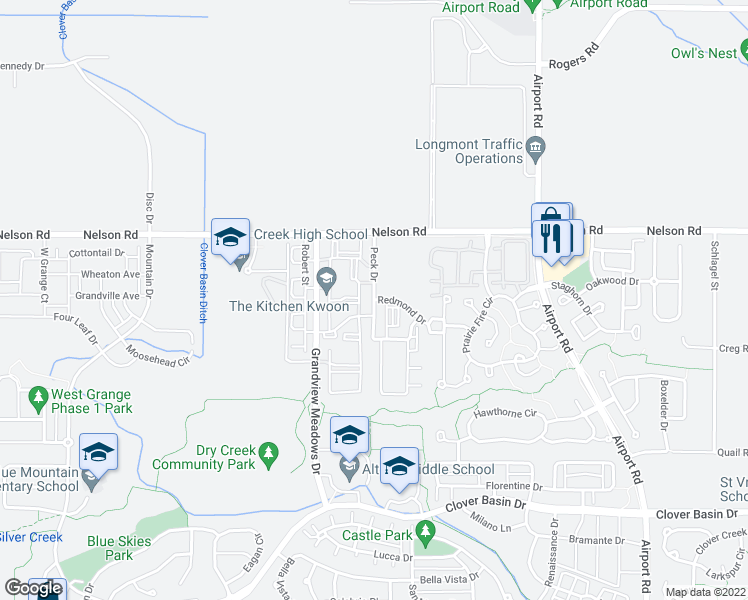 map of restaurants, bars, coffee shops, grocery stores, and more near Peck Drive in Longmont
