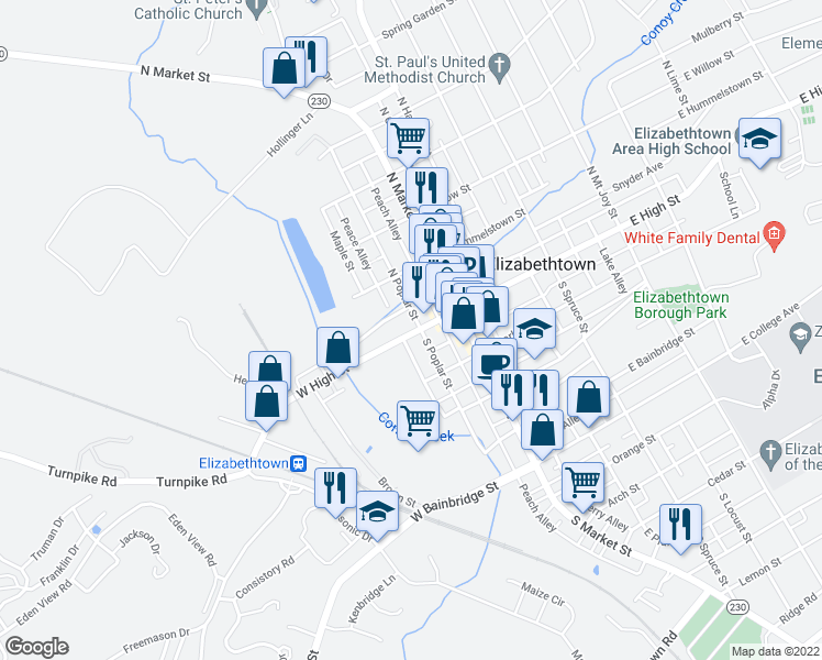 map of restaurants, bars, coffee shops, grocery stores, and more near 111 West High Street in Elizabethtown