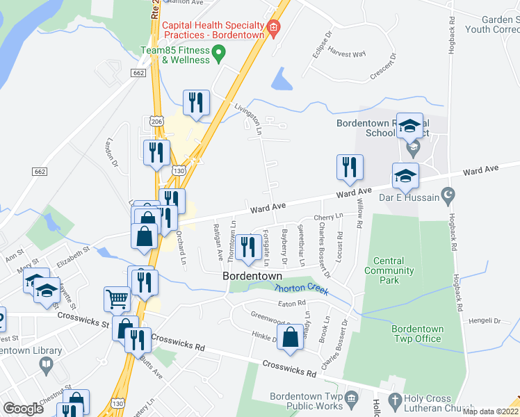 map of restaurants, bars, coffee shops, grocery stores, and more near 1 Livingston Lane in Bordentown
