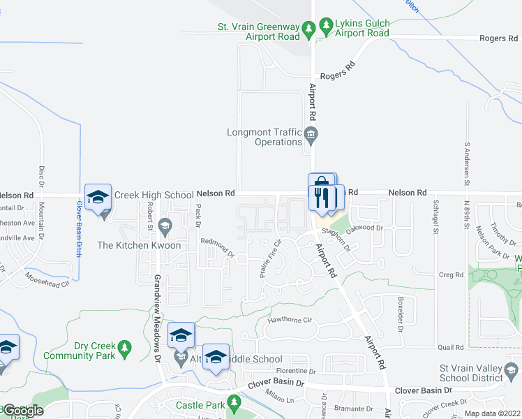map of restaurants, bars, coffee shops, grocery stores, and more near 4501 Nelson Road in Longmont