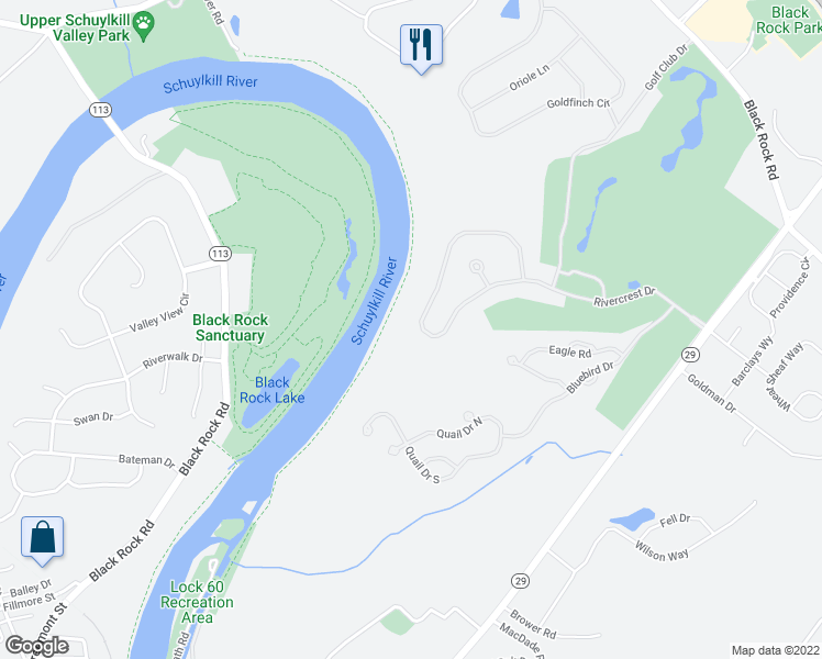 map of restaurants, bars, coffee shops, grocery stores, and more near 240 Rivercrest Drive in Phoenixville