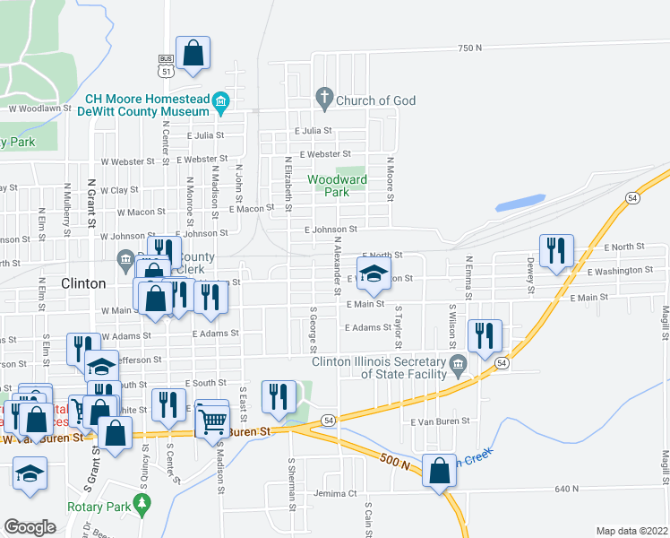map of restaurants, bars, coffee shops, grocery stores, and more near 205 North Alexander Street in Clinton