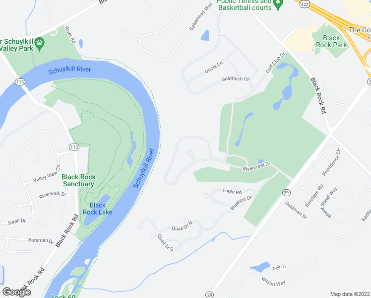 map of restaurants, bars, coffee shops, grocery stores, and more near 265 Rivercrest Drive in Phoenixville