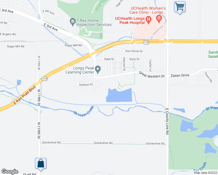map of restaurants, bars, coffee shops, grocery stores, and more near 1601 Great Western Drive in Longmont