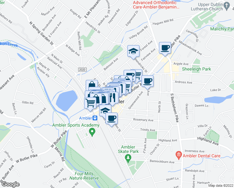 map of restaurants, bars, coffee shops, grocery stores, and more near 114 Race Street in Ambler