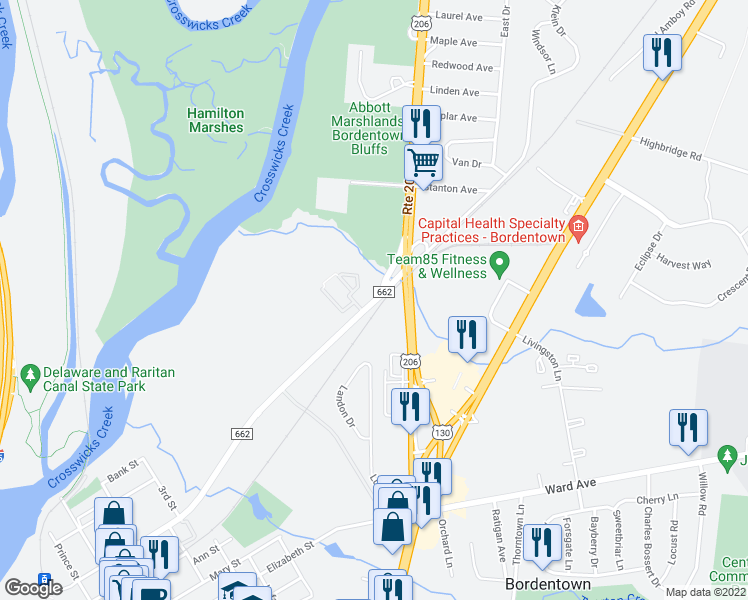 map of restaurants, bars, coffee shops, grocery stores, and more near Park Street in Bordentown