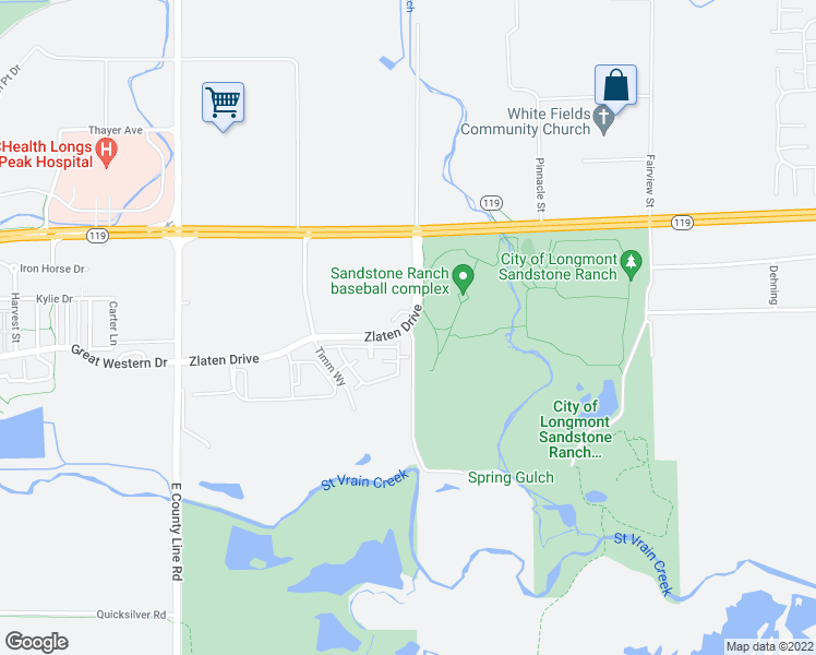 map of restaurants, bars, coffee shops, grocery stores, and more near 500 Zlaten Drive in Longmont