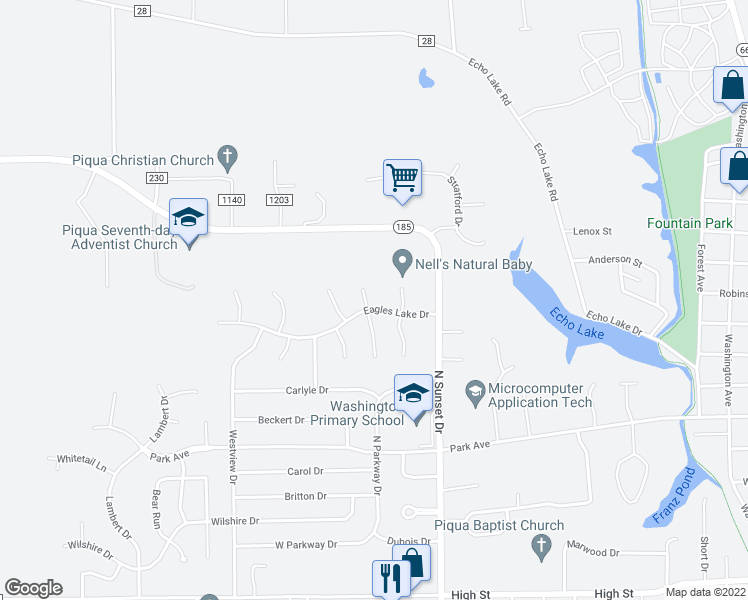 map of restaurants, bars, coffee shops, grocery stores, and more near 1824 Eagles Lake Drive in Piqua