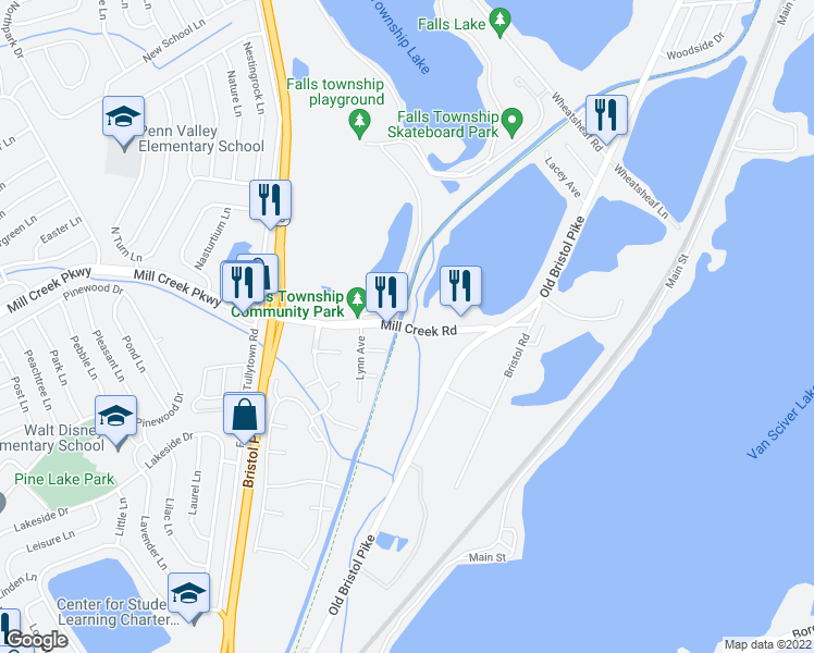 map of restaurants, bars, coffee shops, grocery stores, and more near Delaware Canal Towpath in Morrisville