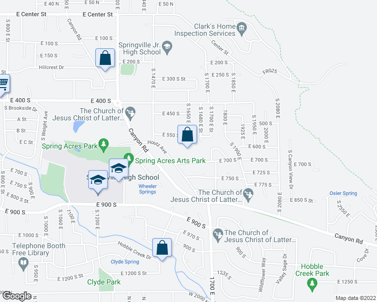 map of restaurants, bars, coffee shops, grocery stores, and more near 1694 East 550 South Street in Springville