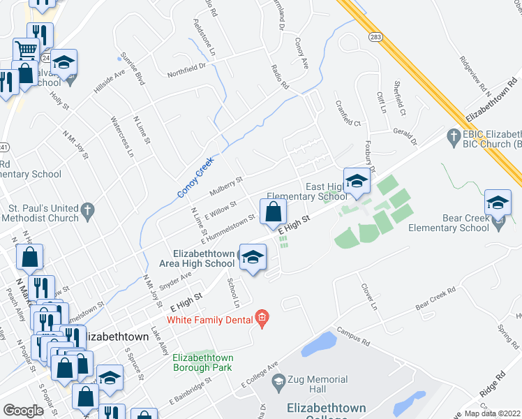 map of restaurants, bars, coffee shops, grocery stores, and more near 601 East Hummelstown Street in Elizabethtown