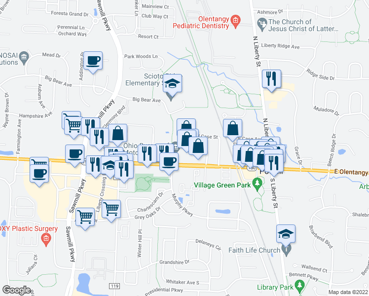 map of restaurants, bars, coffee shops, grocery stores, and more near 10 Village Pointe Drive in Powell