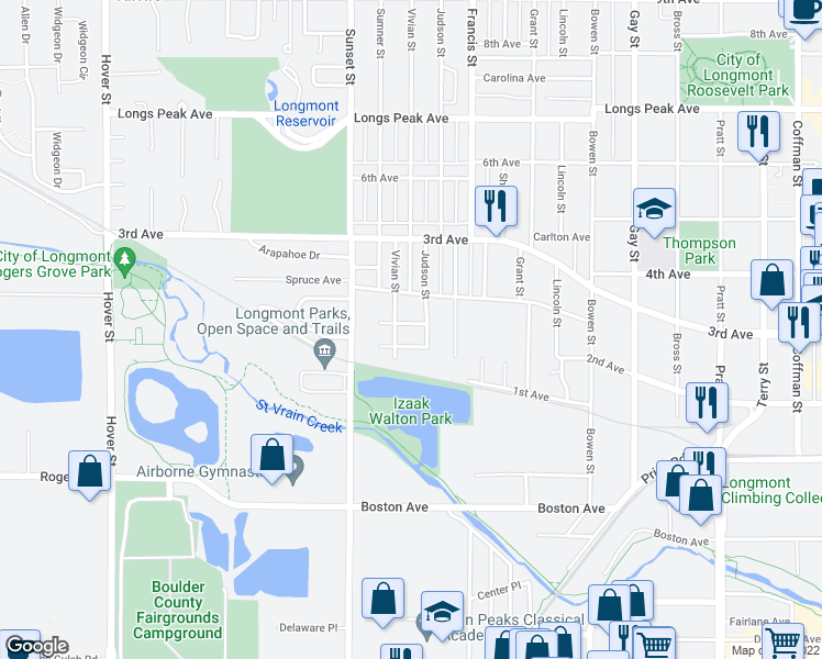 map of restaurants, bars, coffee shops, grocery stores, and more near 1513 Green Place in Longmont