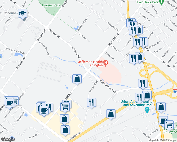 map of restaurants, bars, coffee shops, grocery stores, and more near 3990-3998 Commerce Avenue in Willow Grove