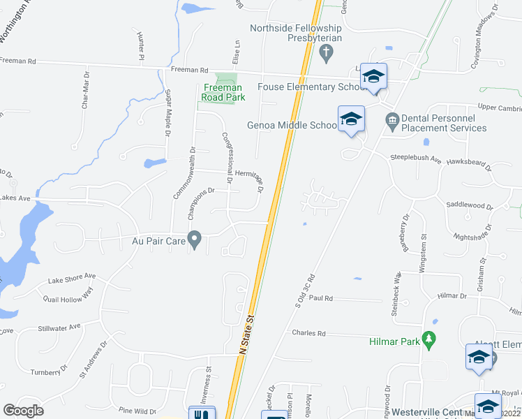map of restaurants, bars, coffee shops, grocery stores, and more near 6605 Hermitage Drive in Westerville