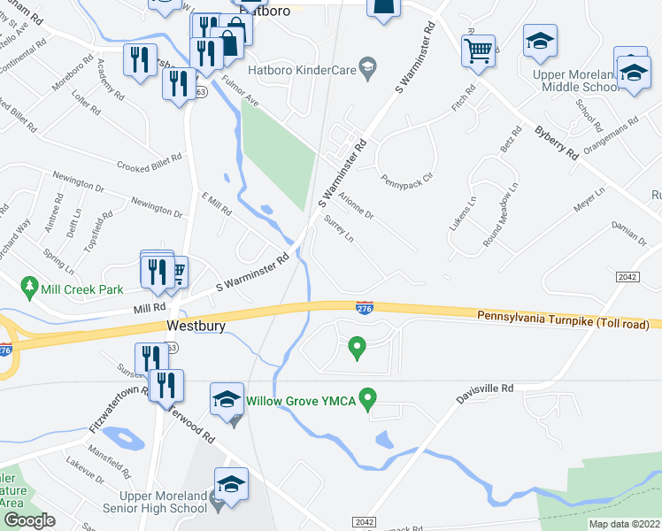 map of restaurants, bars, coffee shops, grocery stores, and more near 503 South Warminster Road in Hatboro