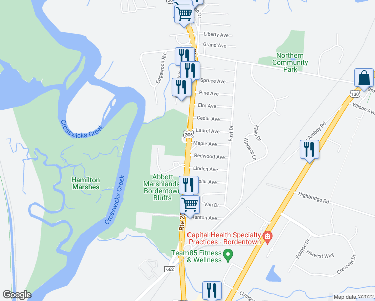 map of restaurants, bars, coffee shops, grocery stores, and more near 863 U.S. 206 in Bordentown