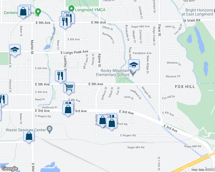 map of restaurants, bars, coffee shops, grocery stores, and more near 470 Dickson Street in Longmont