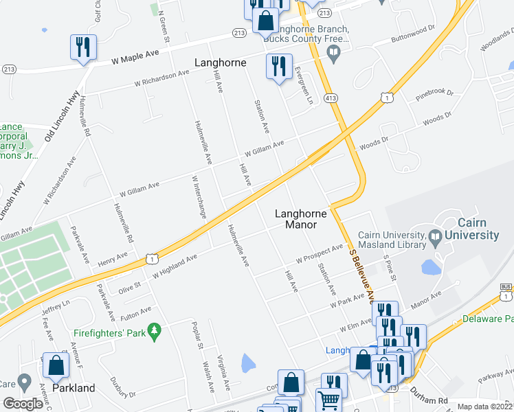 map of restaurants, bars, coffee shops, grocery stores, and more near 8101 Fonthill Court in Langhorne