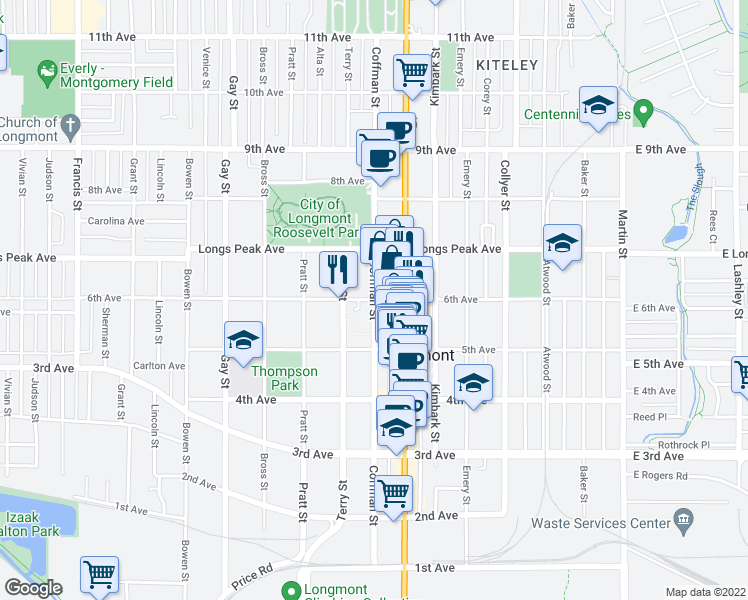 map of restaurants, bars, coffee shops, grocery stores, and more near Coffman Street in Longmont