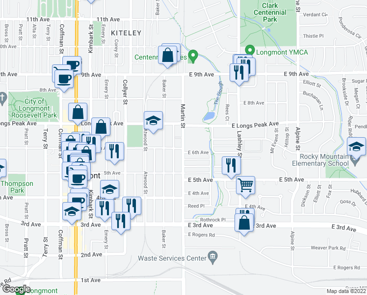 map of restaurants, bars, coffee shops, grocery stores, and more near 534 Martin Street in Longmont