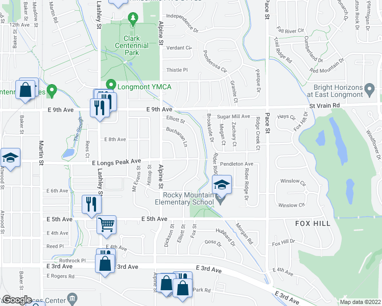 map of restaurants, bars, coffee shops, grocery stores, and more near 706 Buchanan Lane in Longmont