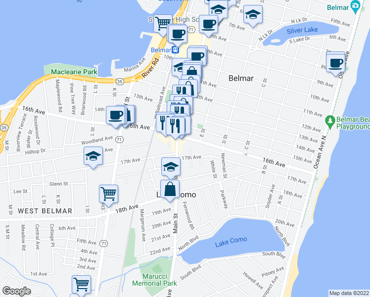 map of restaurants, bars, coffee shops, grocery stores, and more near 1606 Main Street in Belmar