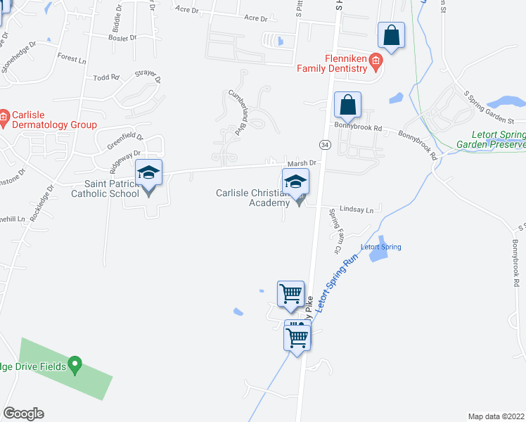 map of restaurants, bars, coffee shops, grocery stores, and more near 1412 Holly Pike in Carlisle