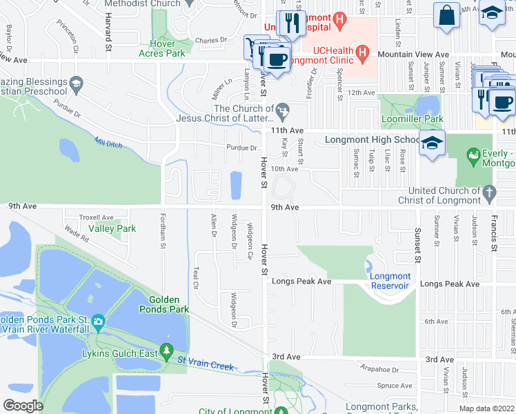 map of restaurants, bars, coffee shops, grocery stores, and more near 2310 Hover Street in Longmont