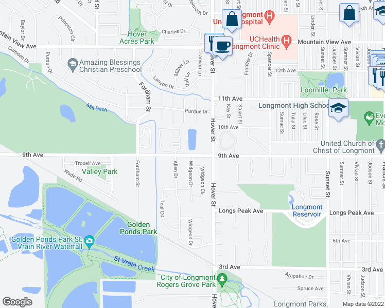 map of restaurants, bars, coffee shops, grocery stores, and more near 2424 9th Avenue in Longmont