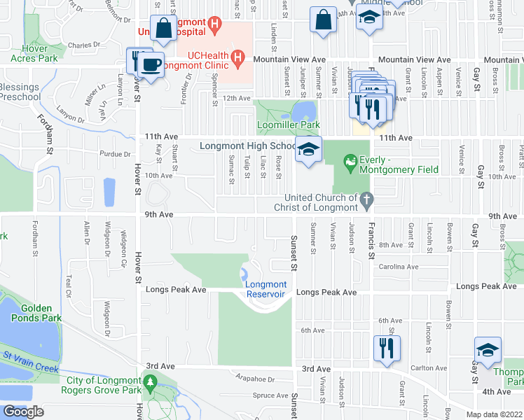 map of restaurants, bars, coffee shops, grocery stores, and more near 1836 9th Avenue in Longmont