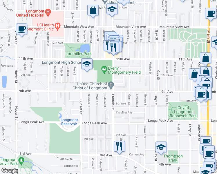 map of restaurants, bars, coffee shops, grocery stores, and more near 927-949 Francis Street in Longmont