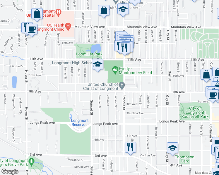map of restaurants, bars, coffee shops, grocery stores, and more near 1530 9th Avenue in Longmont