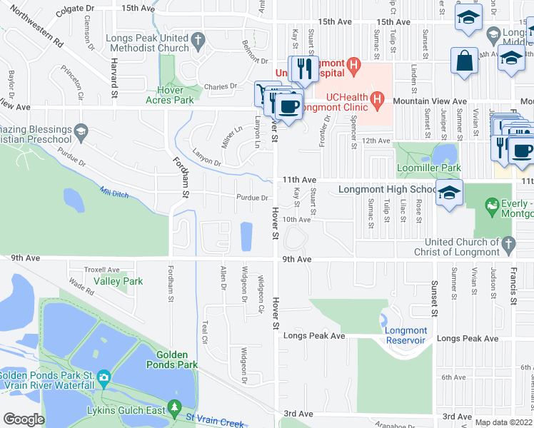 map of restaurants, bars, coffee shops, grocery stores, and more near 2 Ash Court in Longmont