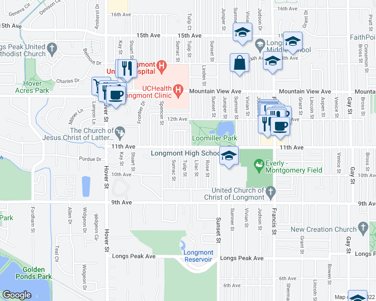 map of restaurants, bars, coffee shops, grocery stores, and more near 1050 Tulip Street in Longmont
