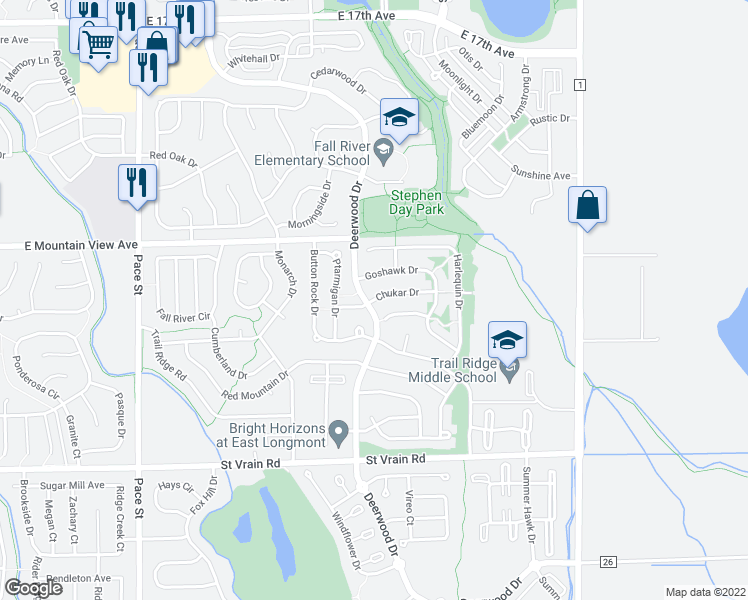 map of restaurants, bars, coffee shops, grocery stores, and more near 1502 Chukar Drive in Longmont