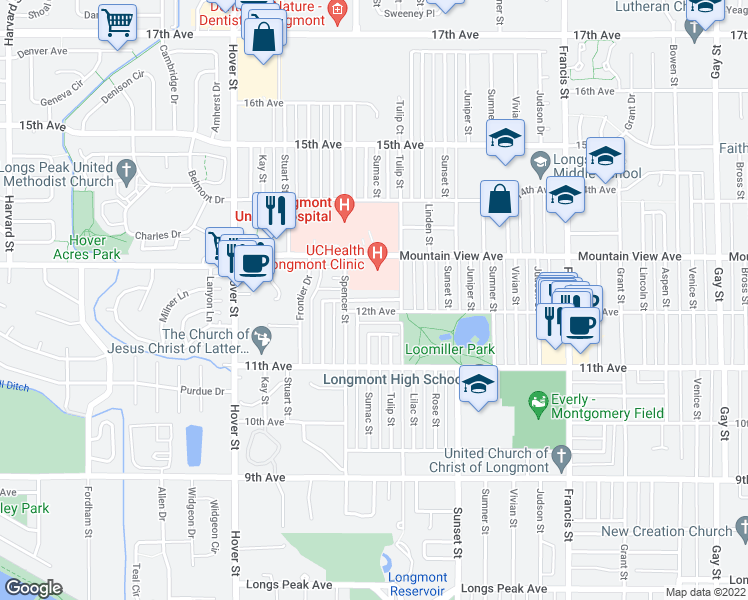 map of restaurants, bars, coffee shops, grocery stores, and more near 1925 Mountain View Avenue in Longmont