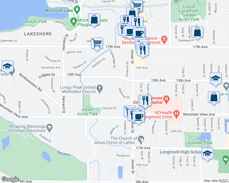 map of restaurants, bars, coffee shops, grocery stores, and more near 1408 Elmhurst Drive in Longmont
