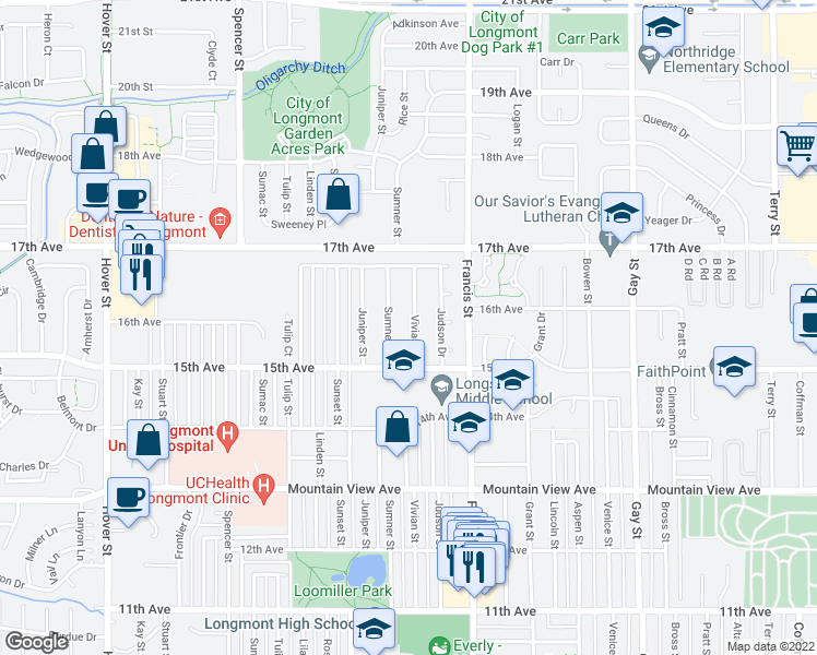 map of restaurants, bars, coffee shops, grocery stores, and more near 1543 Vivian Street in Longmont