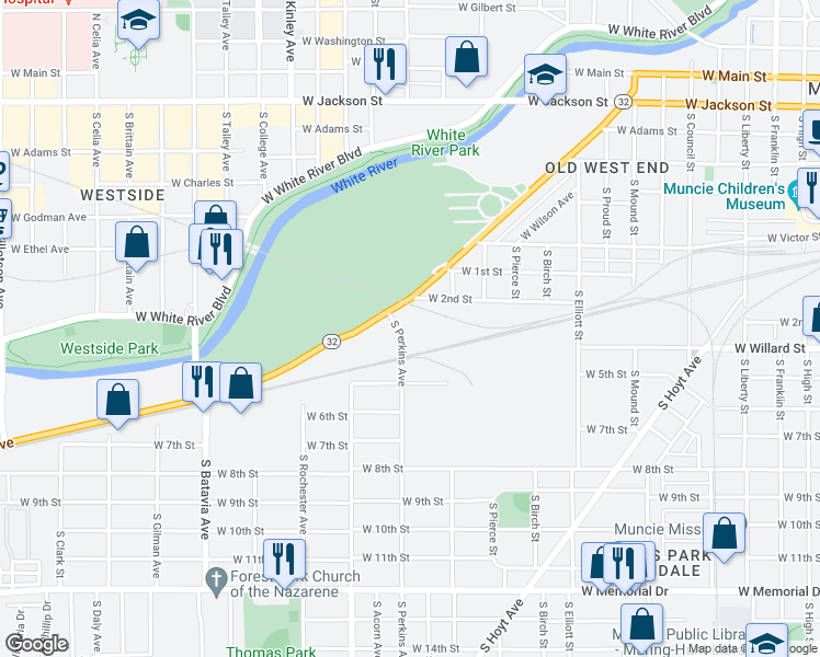 map of restaurants, bars, coffee shops, grocery stores, and more near 1491 West Kilgore Avenue in Muncie